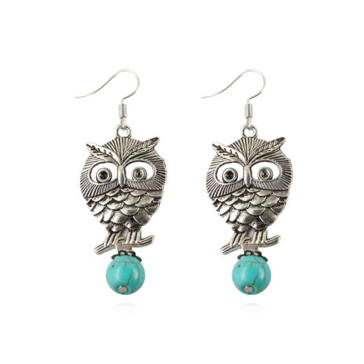 Turquoise Wise Owl Earrings