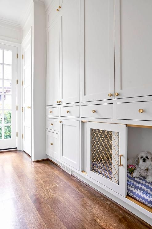 Dog friendly mudroom features a built in dog crate fitted with a sliding gold metal lattice doors and positioned beneath and beside floor to ceiling light gray shaker cabinets finished with brass hardware.
