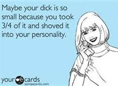 Maybe your dick is so small because you took 3/4 of it and shoved it into your personality.