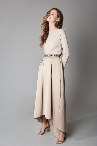 Beautiful long dress - cream beige - bridesmaid dress - nude colour