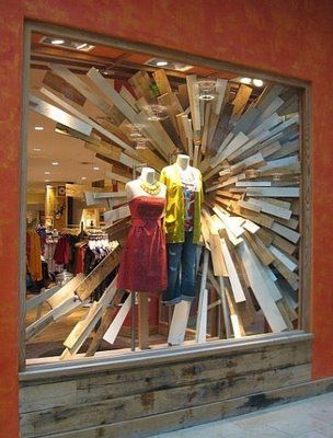 Anthropologie window display -would look cool in a house separating a room from the outside -with the boards on the outside