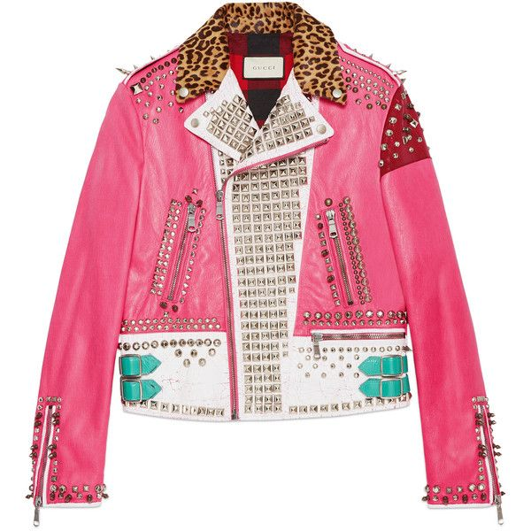 Gucci Hand-Painted Leather Biker Jacket ($12,500) ❤ liked on Polyvore featuring men's fashion, men's clothing, men's outerwear, men's jackets, jackets, outerwear, pink, men's embroidered bomber jacket, mens leather motorcycle jacket and mens leopard print jacket