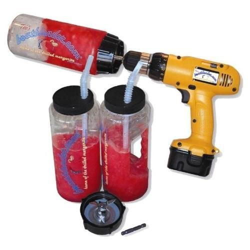 Drill Blender!! Make frozen margaritas and pina coladas  with a cordless power drill.