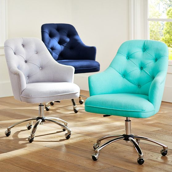 Love the aqua chair! Normally office chairs are a very boring shade of white or black, but these all have beautiful character!