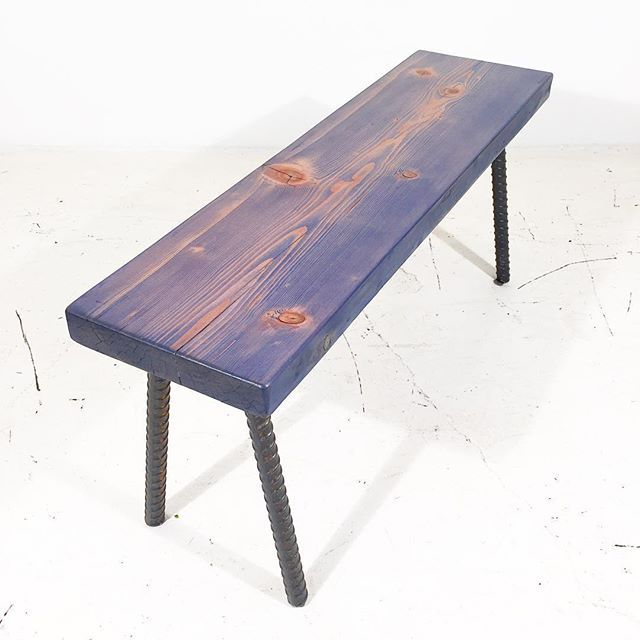 "True Blue Bench 💙 Reclaimed Douglas Fir with an Indigo stain, Reclaimed Rebar welded legs. 39"" x 11"" x 18"" .  #Sale #CustomFurniture #MadeInVancouver #WoodAndSteel #LocalYVR #Vancouver #Edmonton #Calgary #Kelowna #Kamloops #Studio126 #MadeInCanada #ReclaimedWoodFurniture #RedDeer #Desk #Canmore #WestCoastIndustrial #HandcraftedInVancouver #IndustrialDesign #Portland #Seattle #126original #420 #Indigo #IndigoDye #TrueBlue #Bench #DouglasFir"