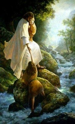 i love this picture. Aren't we all lost in the stream of life? And the Savior is always reaching out to us and willing to carry us through the tough times...we just have to make the choice to take his hand
