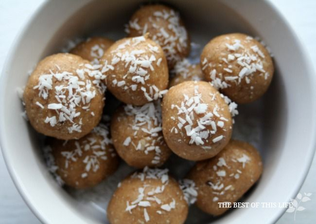 Healthy Peanut Butter Coconut Bites. Use agave nectar instead of honey to make these vegan. #veganMonster