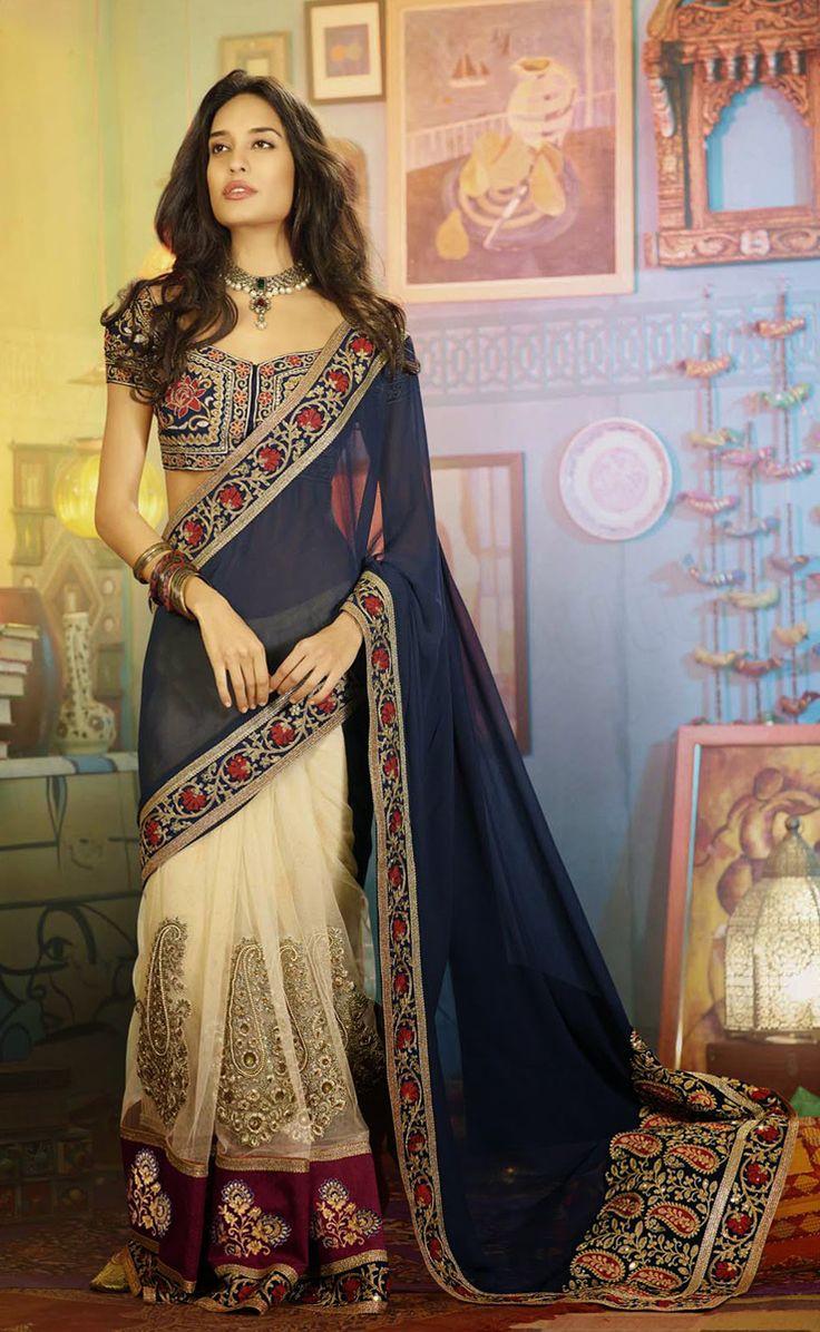 #Designer Sarees #Blue & Cream #Indian Wear #Desi Fashion #Natasha Couture #Indian Ethnic Wear