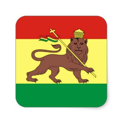 Old Ethiopian Flag with Lion of Judah Square Sticker - sticker stickers custom unique cool diy