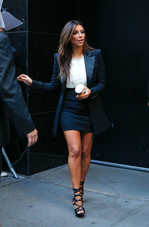 Kim Kradashian in blazer and pencil skirt