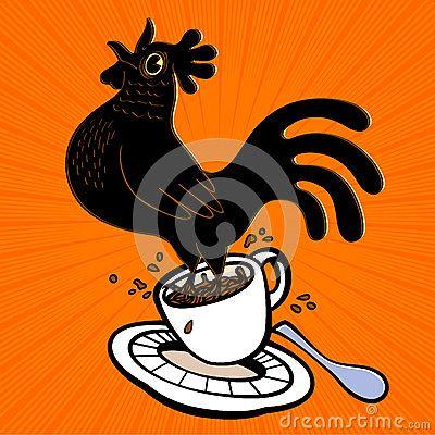 Напористый петух шаржа эспрессо скача от кофейной чашки и поя на cockcrow, предыдущей птице