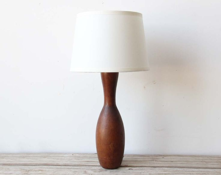 Modern teak wood turned lamp 98 00 via etsy