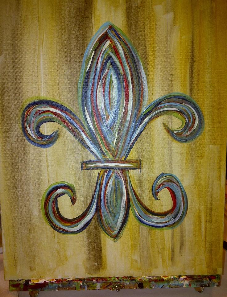Fleur De Lis Canvas Painting Things I Made Pinterest