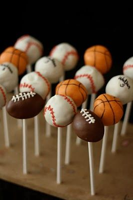 sports themed cake pops - basketball, football, golf ball, baseball
