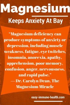 Sufficient levels of magnesium can keep anxiety at bay. Signs of magnesium deficiency are all around you: http://www.easy-immune-health.com/signs-of-magnesium-deficiency.html www.plexusslim.com/shellicalhoun