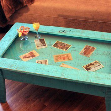 Display Coffee Table With Glass Top By
