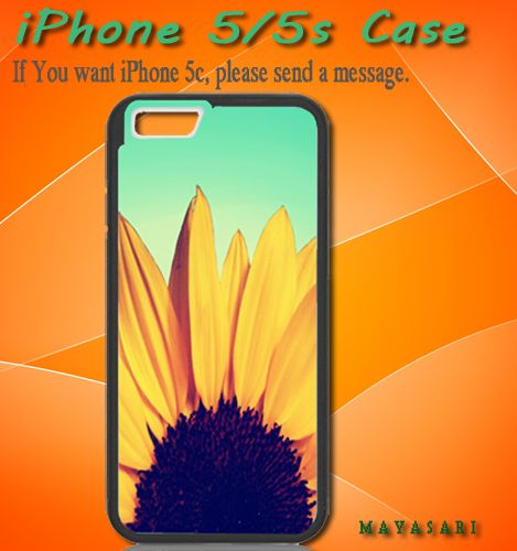 "Sunflower Cute Flower Tumblr Inspired Blue Ombre Print on Hard Plastic For iPhone 5/5S Case, Black Case  This case is available for: iPhone 4/4S iPhone 5/5S iPhone 6 4.7"" screen Samsung Galaxy S4 Sams"