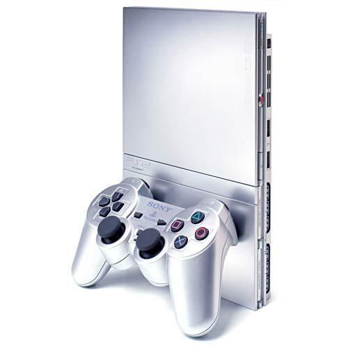 Sony PlayStation 2 Slim Satin Silver Console (SCPH-90001SS) With Games & Memory Card