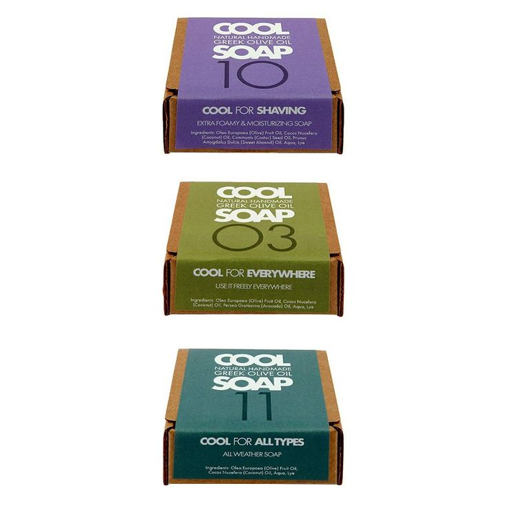 Cool Soap For Shaving, $5; coolgreeksoap.com Cool Soap for Everywhere, $5; coolgreeksoap.com Cool Soap for All Types, $5; coolgreeksoap.com