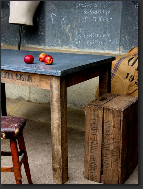 I Love This Zinc Table Top. Need To Find A Fabricator Locally Who Will Make  One For My Existing Dining Table  And I Love The More Wear The Better It  Looks.