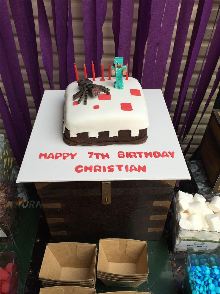 Minecraft cake I made for my sons birthday