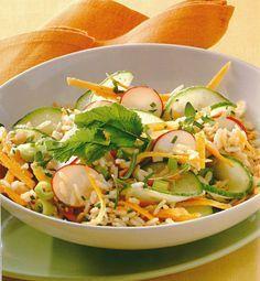 Ensalada crujiente de arroz y atún vía La dieta ALEA - blog de nutrición y dietética, trucos para adelgazar, recetas para adelgazar #dietasparaadelgazar