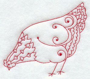 Redwork Pecking Hen