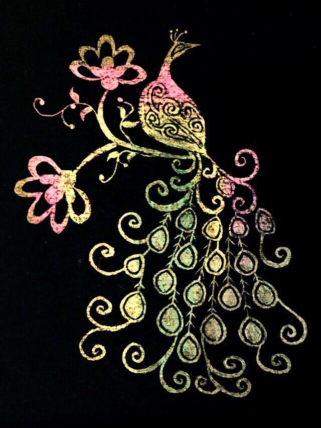 Scraping paint peacock