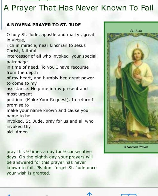 Unfailing Prayer to Saint Jude Thank you, St. Jude, for all request granted through the Son most holy, Jesus Christ, AMEN.