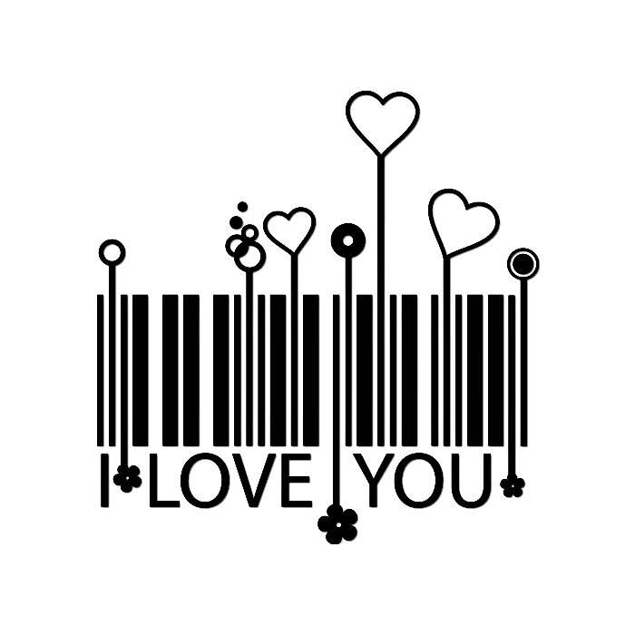 DIY Barcode I Love You Vinyl Decal, Laptop Decal, Car Window Vinyl Decal, iPad Vinyl Decal, Cell Phone Decal, Stainless Steel Mug Decal by VinylMeeThis on Etsy