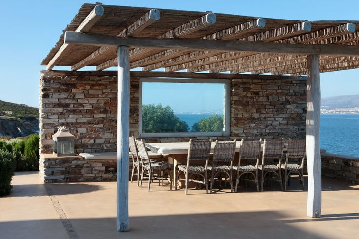 Poolside pergola and dining area