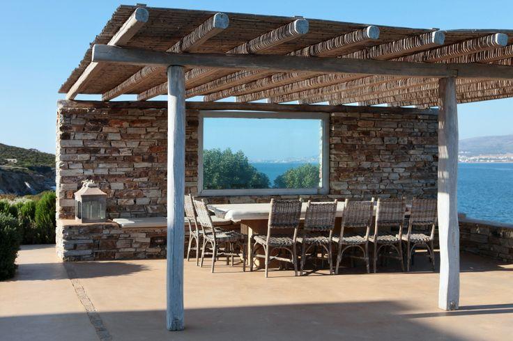 Poolside pergola and dining area