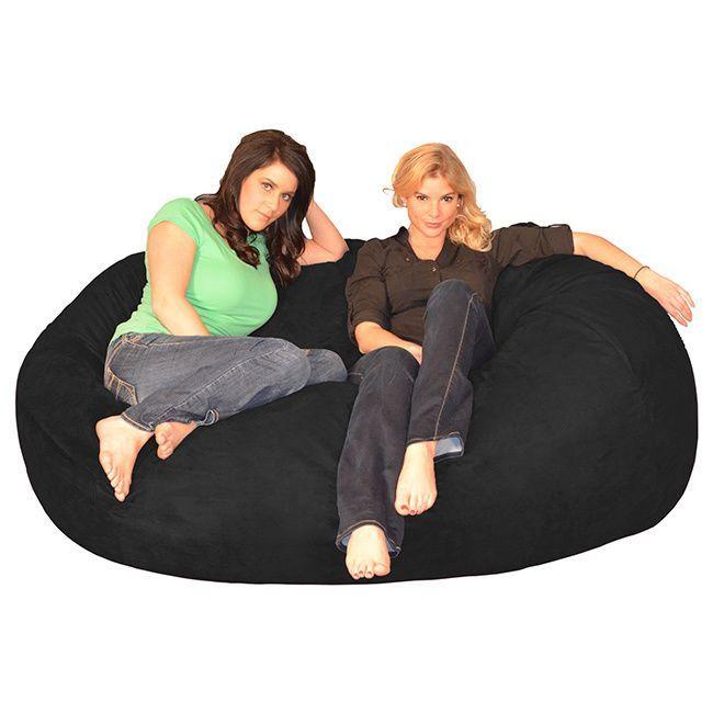 6 Foot Memory Foam Bean Bag Lounger Black Size Extra Large Microfiber