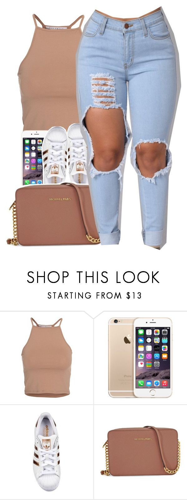 """Untitled #411"" by uniquee-beauty ❤ liked on Polyvore featuring NLY Trend, adidas Originals and Michael Kors"