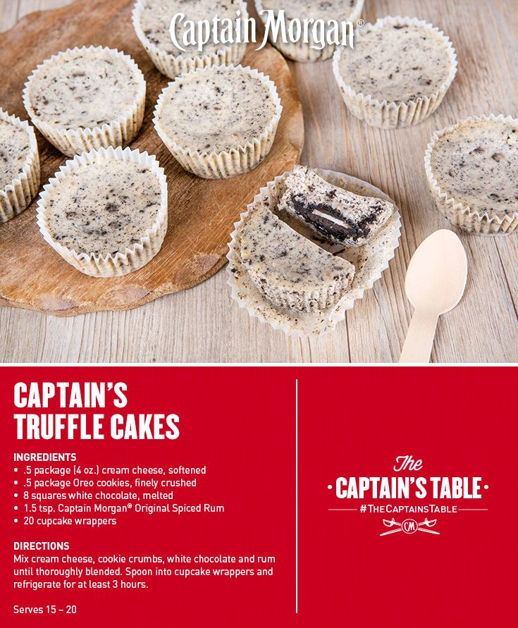 A cookie truffle cupcake. This Valentine's Day treat is sure to steal some hearts. #Captain #Morgan #rum #whitechocolate #dessert #recipe #CaptainsTable