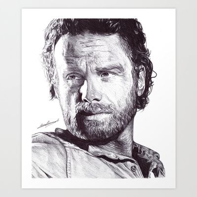 """ART PRINT/ MINI (8"""" X 9"""")  DeMoose_Art (demoose21) Rick Grimes (The Walking Dead) Pen Drawing by DeMoose_Art $20.00 Free Worldwide Shipping Available Today!"""