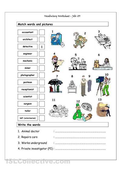 Teach The Teacher Worksheet : Vocabulary matching worksheet jobs teens esl efl