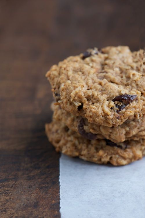 Chocolate chunk oatmeal cookies with coconut and dried cherries