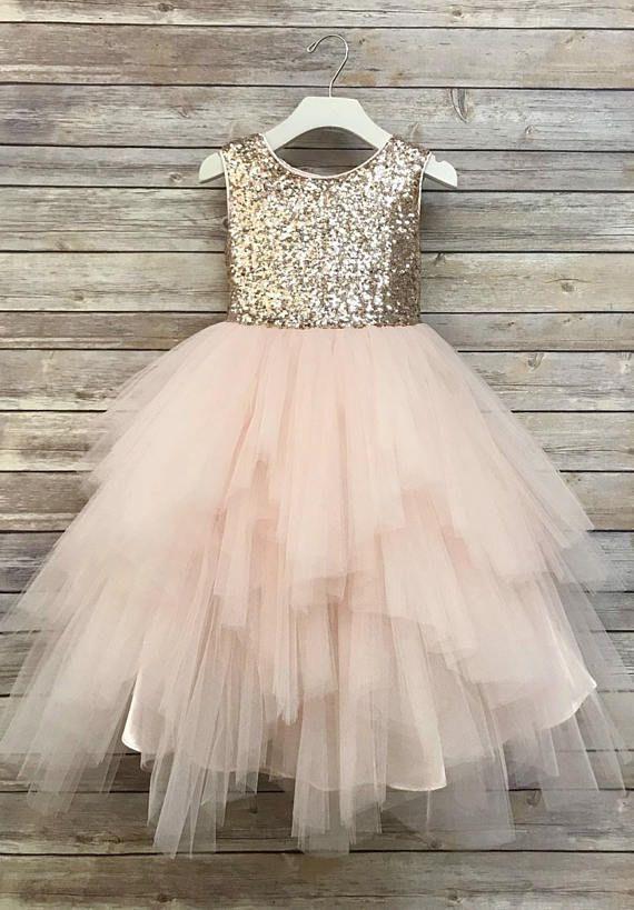 cbcd429553c Sequin Top Flower Girl Glam Dress Sizes 2-16 Blush Rose Gold