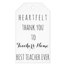 Heartfelt Thank You Best #Teacher Ever Typography #Gift #Tags