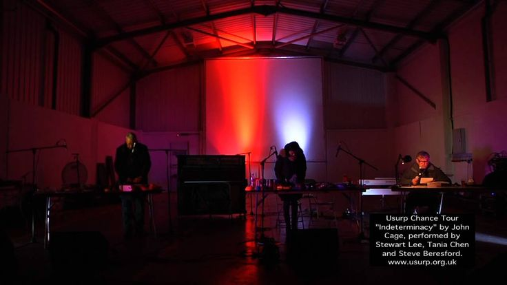 """Teaser video from the Usurp Chance Tour at The Format Festival in Derby 15 March 2014.   """"Indeterminacy"""" was originally recorded in 1959, with John Cage reading aloud 90 stories, each lasting one minute. For this performance, Stewart Lee assumes Cage's role accompanied by contemporary pianists, Tania Chen and Steve Beresford improvising on pianos and objects. """"Humour and existentialist melancholy co-exist, perching on a knife-edge."""" Gramophone.  http://www.usurp.org.uk"""