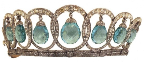 Spain - Queen Victoria Eugenie Aquamarine Tiara (2nd version)