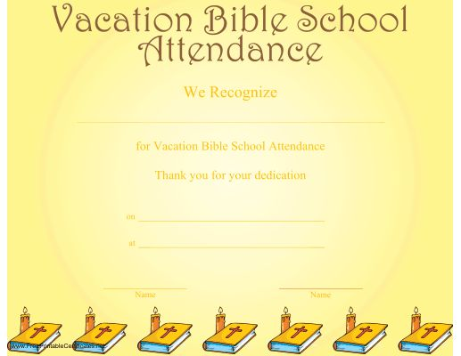 24 best church certificaes images on pinterest printable a printable certificate recognizing vacation bible school attendance and illustrated with a row of bibles and yadclub Choice Image