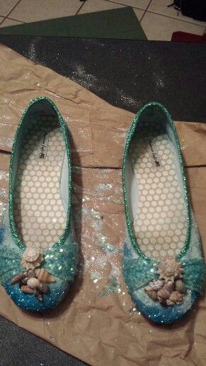 Poseidon costume shoes - glitter in ocean pattern, glitter paint on rim, sequin glitter on twists, shells hot glued on front