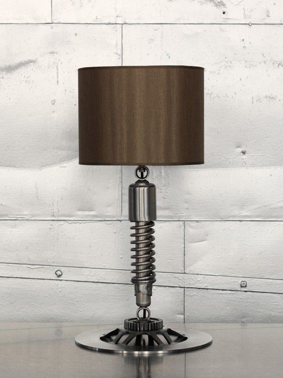 Lamp made upcycled from unused Japanese motorcycle parts, made by Betsyryland, Richmond Virginia, USA If you like this then check out my shop for one of a kind handmade art and decor items https://www.etsy.com/shop/SalehDesigns?ref=si_shop industrial chic vintage reclaimed up cycled repurposed game of thrones gears steampunk welded steel sculptures eclectic decor