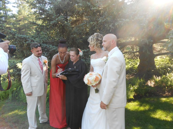 Me, with #Bride, Cassie, and #Groom, Michael, and their #Maid-of-Honor, and Best Man, witnessing their #marriage certificate, at their #wedding, at The Estate at Moraine Farm, @Beverly, @MA