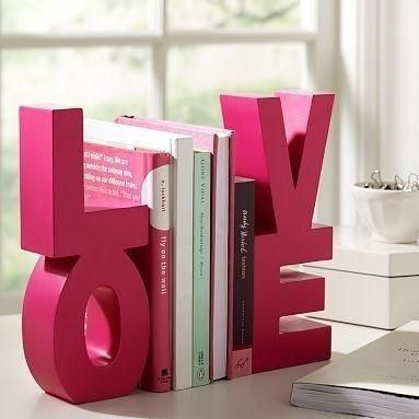 Paint and glue together block letters to use as book ends!!