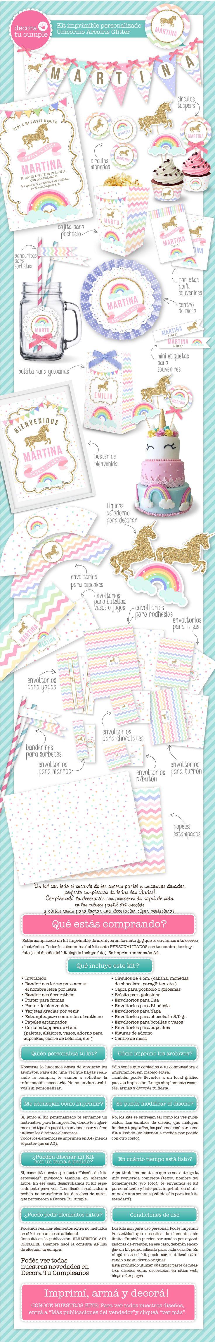 Kit imprimible unicornio y arcoiris. Decoración para fiestas y cumpleaños. Shabby chic, estilo romántico. Colores pastel. Invitación digital. Decoración de fiestas infantiles y eventos. https://www.facebook.com/DecoraTuCumpleanos/?ref=hl