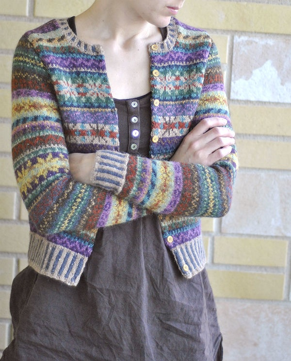 dress + fair isle cardigan, nitsirk: Orkney    Give me one more day a week and I will knit this cardigan