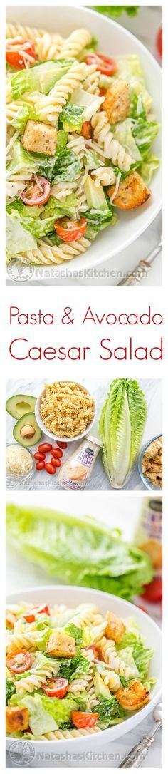 You have to try this Pasta Avocado Caesar Salad. Easy and family friendly weeknight meal! @natashaskitchen #sponsored by @marzettikitchen